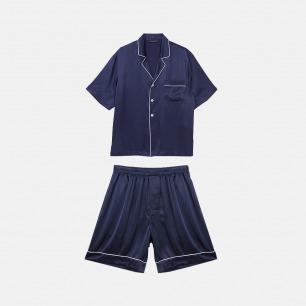 男士真丝短裤睡衣套 | 意大利奢华精致家居服