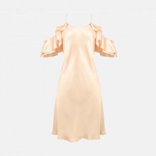 荷叶袖露肩吊带裙 | 意大利奢华精致家居服