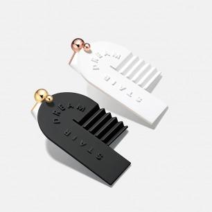楼梯J型耳环耳坠 两款可选 | 造型精致抢眼 银镀18K金