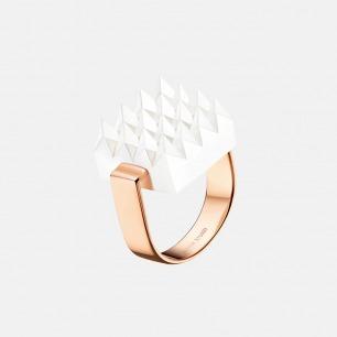 白色华夫斜纹戒指 | 造型精致 银镀玫瑰金