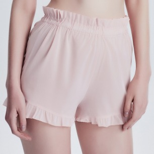 樱花裸粉荷叶边高腰短裤 | 纯净美好 舒适透气