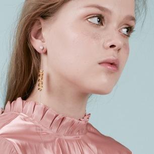 拼色螺旋意面耳环 | 纯银与优质黄铜 镀18K金