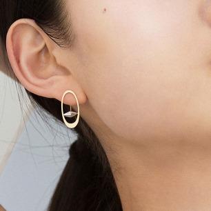 18k黄金土星幽灵环耳环 | 原创设计 气质转运珠