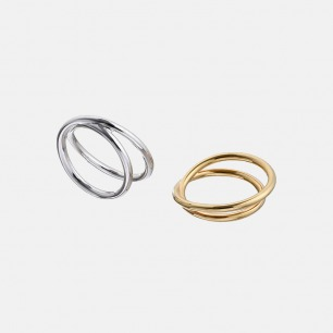 Infinity无限永恒镀金戒指Ⅱ | 折叠的无穷符号 简约个性
