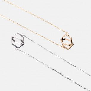 安全感系列六边形K金项链 | 淡雅香槟色 时尚立体造型