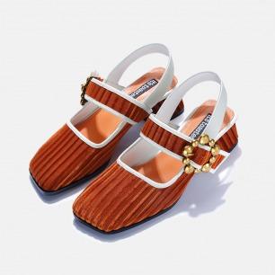 丝绒方头粗跟玛丽珍鞋   小众独特又具艺术感的美鞋