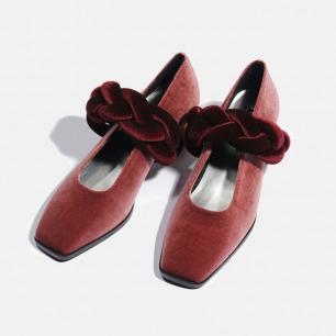丝绒辫子木跟女鞋   小众独特又具艺术感的美鞋