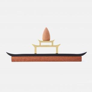 江南檀木黄铜香器 | 烟雾缭绕 似飞檐如塔寺