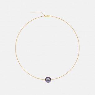 奢华紫珍珠吊坠18K金项链 | 进口金链搭配天然紫色珍珠