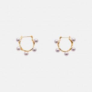 日本珍珠18K金摇铃耳环 | 多枚圆润珍珠 奢华优雅