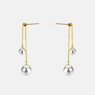 日本珍珠18K金链耳坠 | 含四枚天然珍珠 奢华优雅