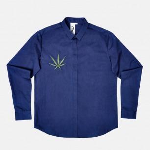 男士植物染靛蓝刺绣衬衫 | 采用板蓝根植物 100%纯棉