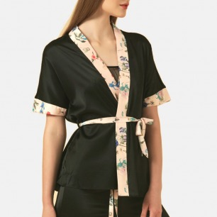 浪漫风印花真丝晨服短睡袍 | 衣身宽松舒适 精致优雅