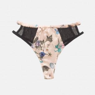 印花拼接镂空网纱三角裤 | 性感甜美 性感甜美