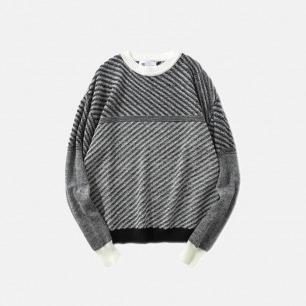 拼接丝光羊毛毛衣 男女同款   斜纹编织 很温柔的颜色