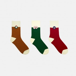 圣诞特别礼盒加厚纯棉袜子   经典的圣诞配色 柔软亲肤