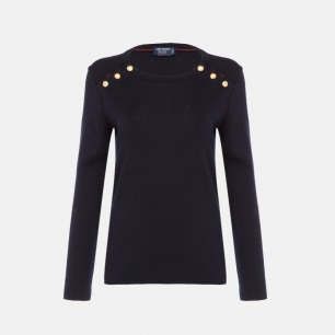 圆领长袖羊毛衫-女款   100%羊毛 经典素色