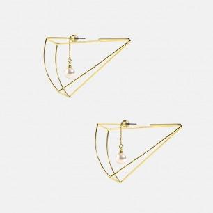 芝士蛋糕珍珠耳环 | 铜镀18K金 施华洛世奇珍珠