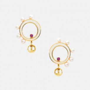 摩天轮耳环-2色 | 925银镀18K金 淡水珍珠