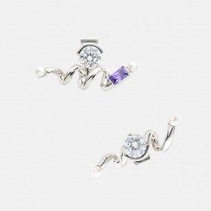 过山车耳环 | 925银 锆石 淡水珍珠