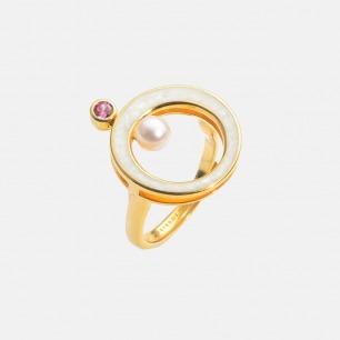 摩天轮戒指 | 925银镀18K金 淡水珍珠