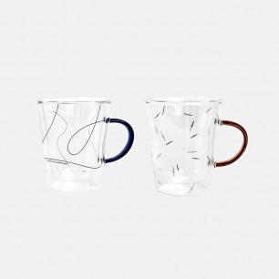 原创设计双层耐高温玻璃杯 | 线条简洁流畅 彩色把手吸睛
