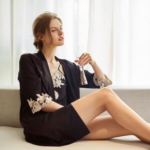 真丝吊带裙睡袍2件套装 | 亲肤丝滑面料 浪漫刺绣蕾丝