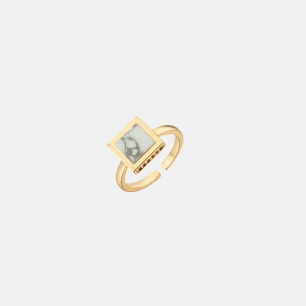 简约菱形大理石戒指 | 镶嵌多枚锆石 细节尽显奢华