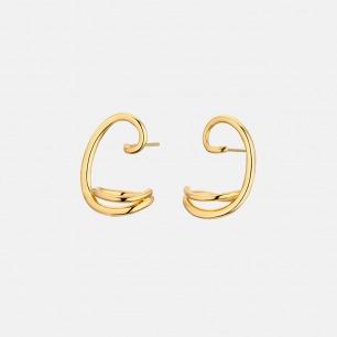 别致曲线 时尚镀金耳环 | 欧美流行的金属风格 简约美