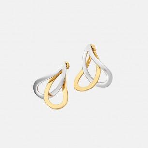 金银双色交错金属耳环 | 金属复古欧美范儿 层叠交错