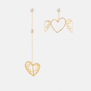 开心系列心形不对称耳环 | 灵动的像张开心的翅膀