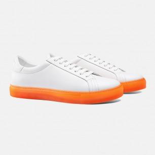休闲白球鞋 橙色/粉色底边 | Gucci同款进口皮革 男女同款