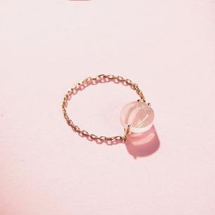 樱-粉晶樱花戒指 | 18k金 粉水晶