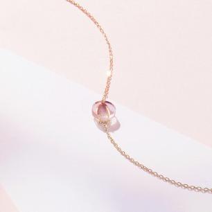 樱-花瓣粉晶项链 | 18k黄金 粉水晶