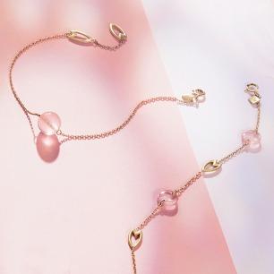 樱-花瓣粉晶手链 | 18k黄金 粉水晶