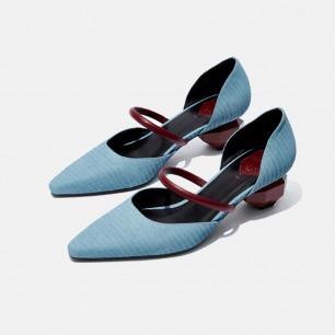 复古小方头红带玛丽珍鞋   独立原创设计师品牌