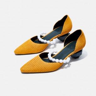 复古小方头切面珠玛丽珍鞋   独立原创设计师品牌