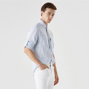 翻领长袖男女同款衬衫   经典素色衬衫 2色可选
