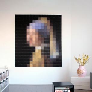 戴珍珠耳环的少女-像素画   荷兰超火的趣味艺术画