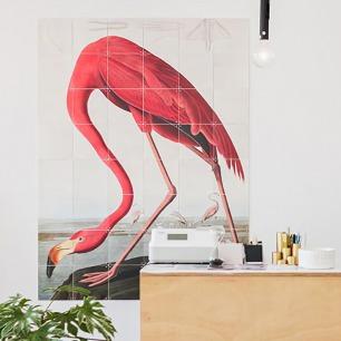 荷兰拼贴装饰画-火烈鸟   源自自然历史博物馆作品