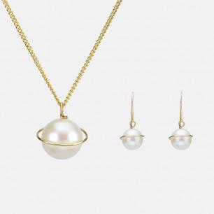 自由星球款项链耳饰套装 | 18K金+淡水珍珠