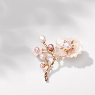 淡水珍珠胸针 | 小雏菊、三生三世十里桃花2款