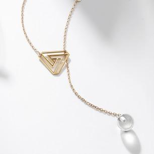 彭罗斯三角18k金水晶球项链 | 还能做手链、耳环