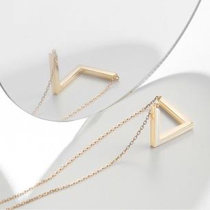 彭罗斯三角白珐琅长项链 | 18k金 极简低领锁骨吊坠