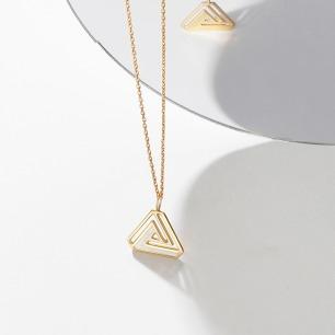 彭罗斯18k金三角项链 | 镂空/白珐琅/全金3款可选