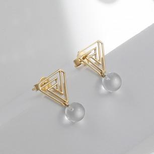 彭罗斯三角立体水晶耳钉 | 18k金 高级感的原创设计