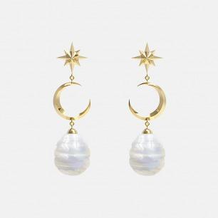 18K金星月耳环 | 超多明星同款复古摩登首饰