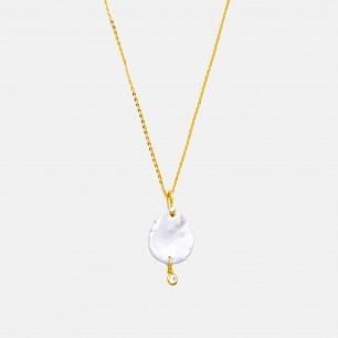 天然淡水花瓣珍珠项链 | 锆石点缀,手工制作