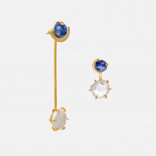 青金石不对称耳环 | 天然淡水珍珠+青金石
