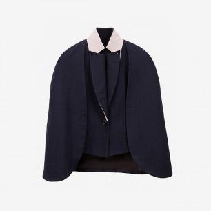 青集站羊毛假两件拼接蓝色披风外套
